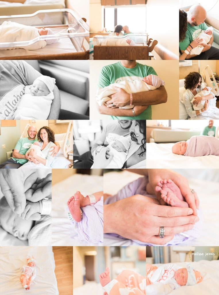 Photos of a baby girl in a beautifully lit hospital room in a Pittsburgh hospital, held by her mom and dad.