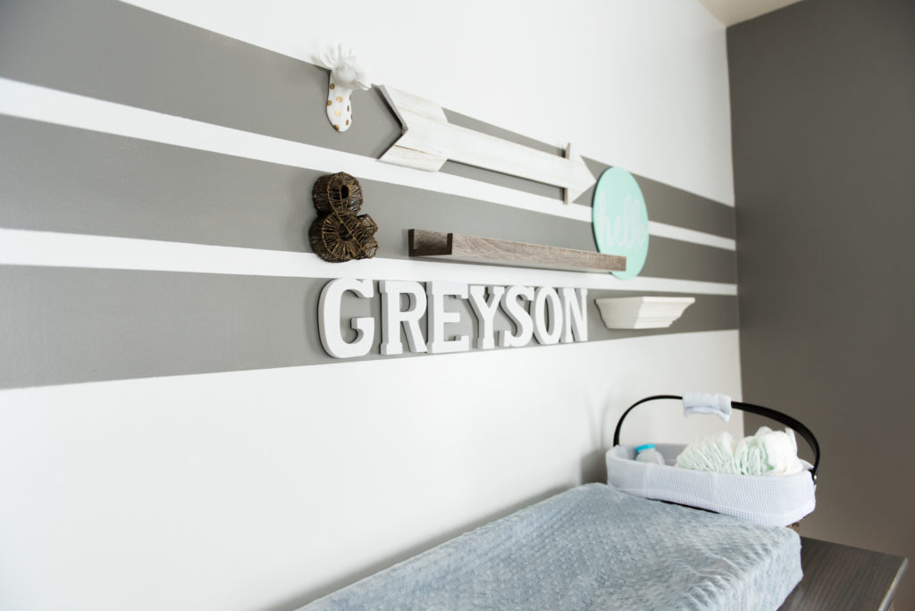 newborn boy room in grey and white with arrows and stripes in a in home lifestyle newborn photography session in Pittsburgh and Cranberry Twp PA 16066