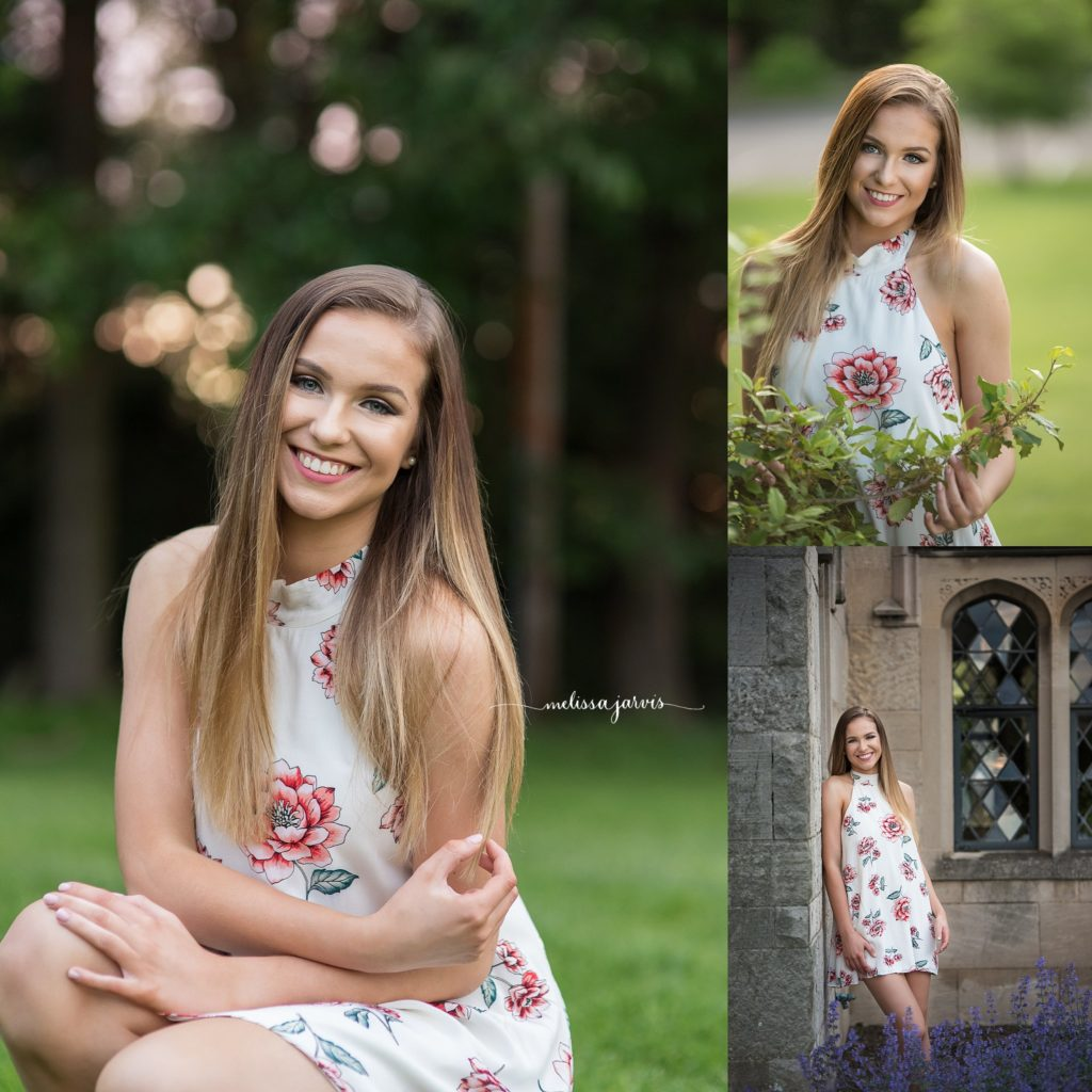 high school senior in white dress poses in front of mansion in cranberry twp pa