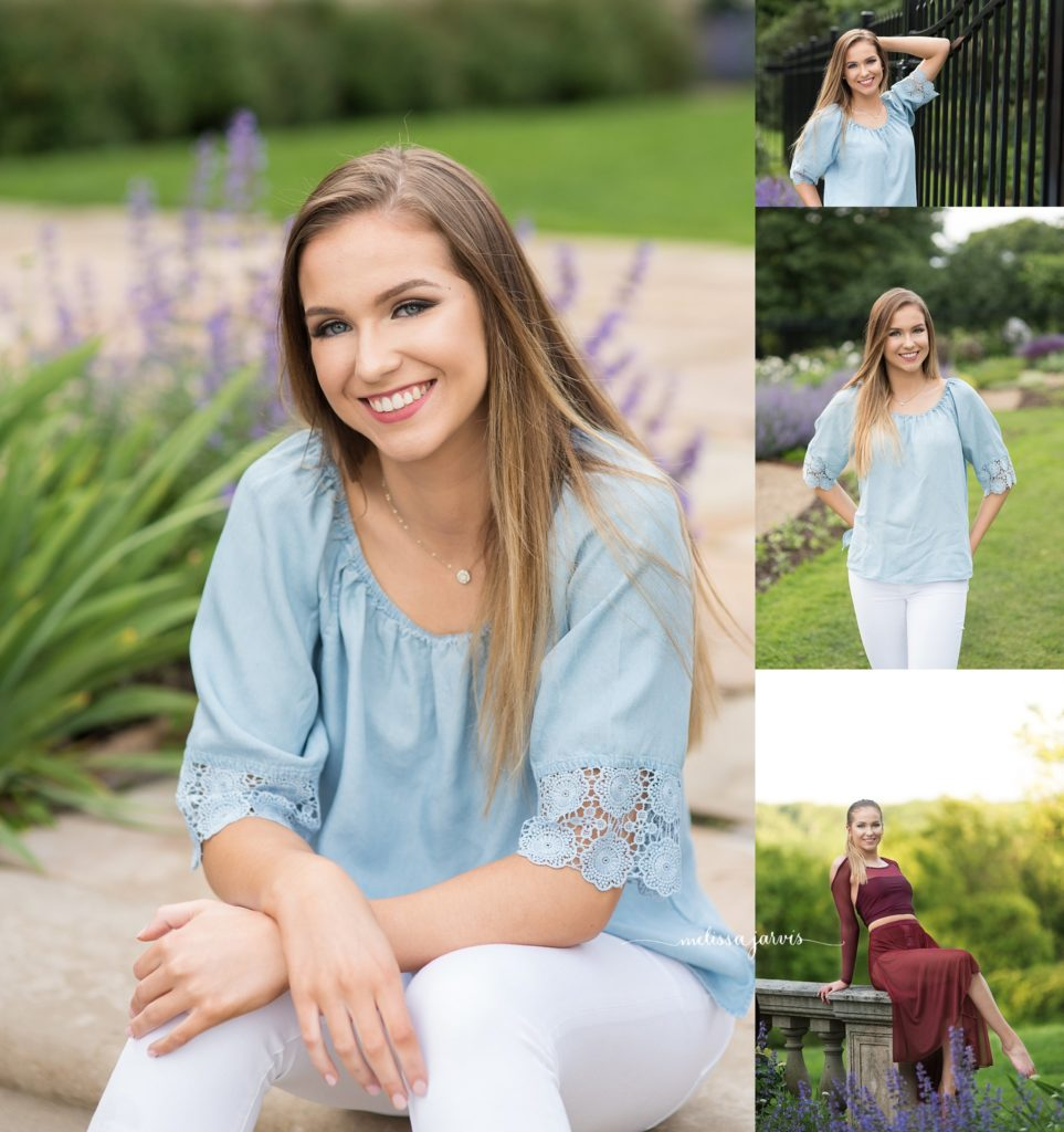 high school senior poses in field during senior pictures in wexford pa