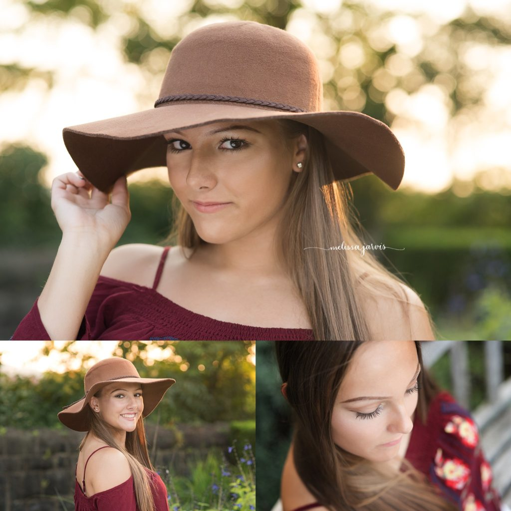 Cranberry Twp Senior Photographer photographs girl in flowers and summer sunshine wearing floppy hat