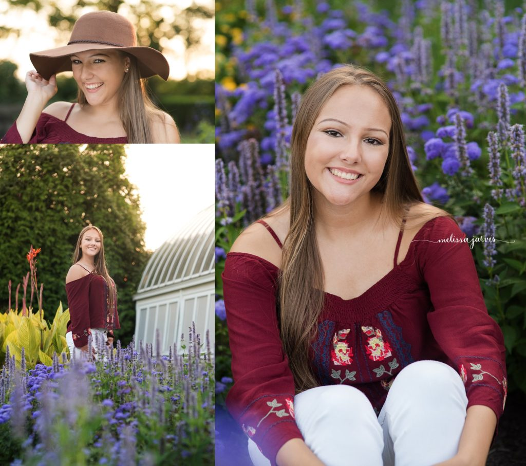 Cranberry Twp Senior Photographer photographs girl in flowers and summer sunshine