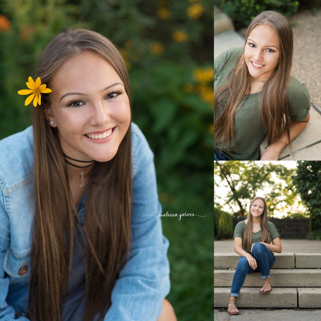 Cranberry Twp Senior Photographer photographs girl in yellow flowers and summer sunshine