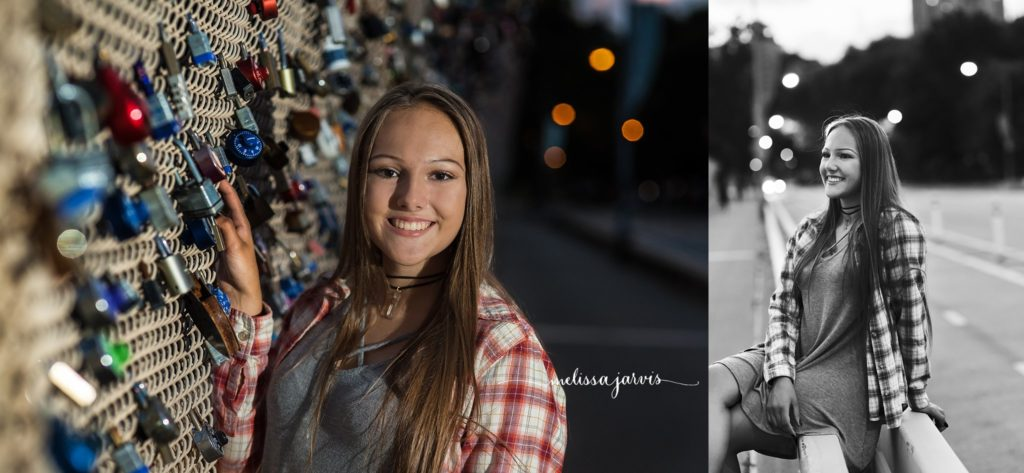 Cranberry Twp Senior Photographer photographs girl in city with lights in background