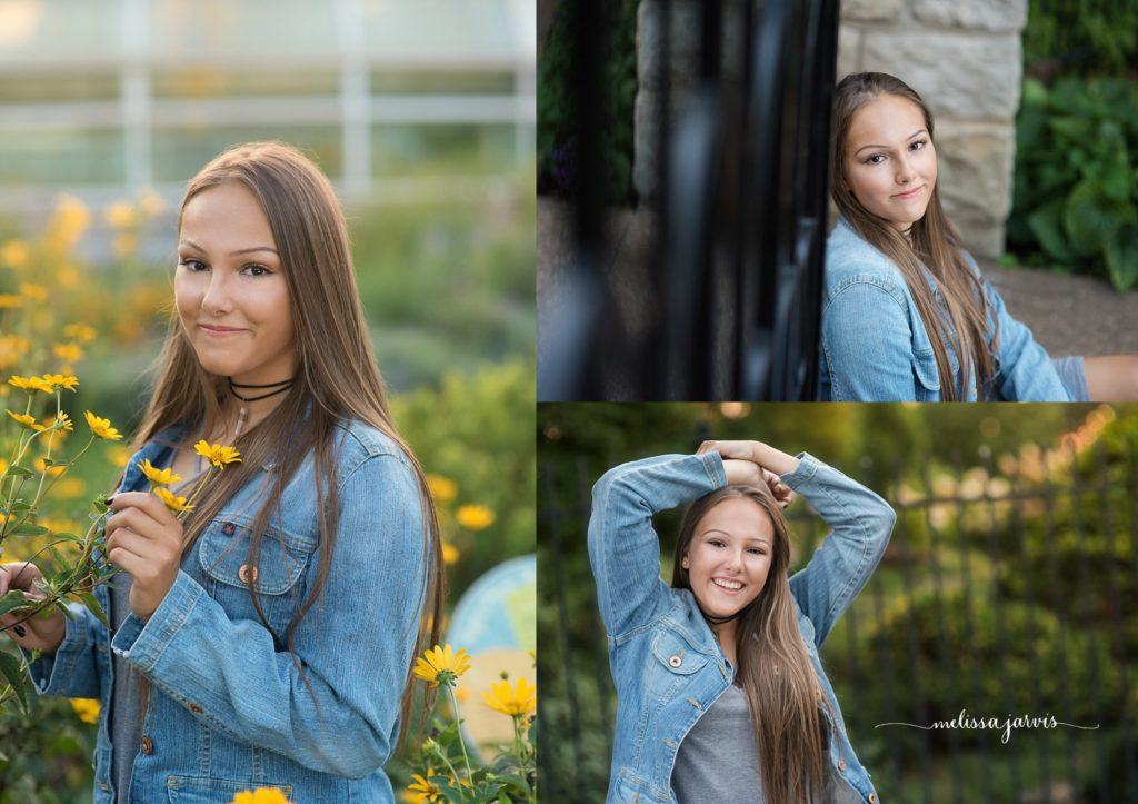 Cranberry Twp Senior Photographer photographs girl in flowers of yellow