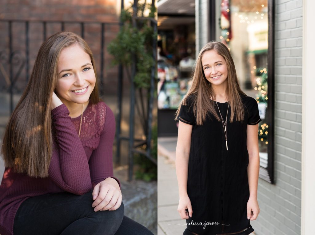 senior portrait session in downtown sewickley gives urban chic vibe