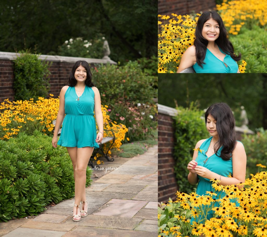 Senior Girl takes photos in yellow summer flowers in Pittsburgh, PA