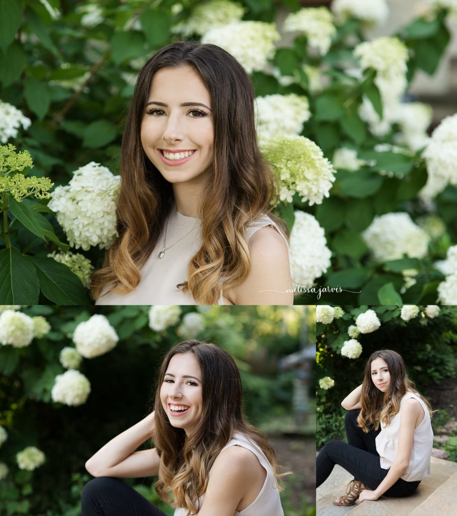 senior girl from shadyside pa stands against in a natural setting of hydrangea for senior portrait session in Pittsburgh PA