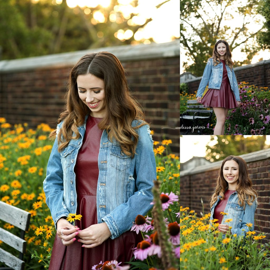 senior girl from shadyside pa stands in wild flowers for senior portrait session in Pittsburgh PA