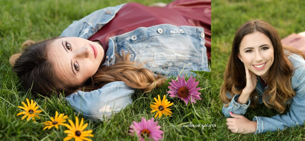 senior girl from shadyside pa lays in grass and flowers for senior portrait session in Pittsburgh PA