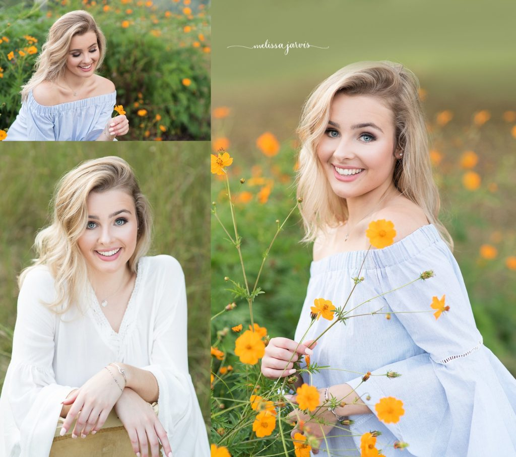 senior girl from ben avon heights pa sits in field of orange flowers for senior portrait session in Pittsburgh PA