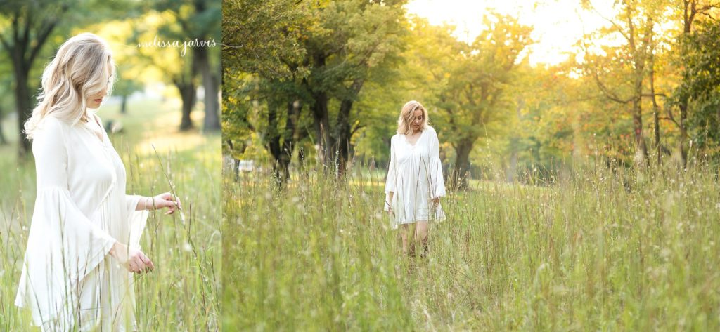 senior girl from ben avon heights pa stands candidly in field of tall grasses for senior portrait session in Pittsburgh PA